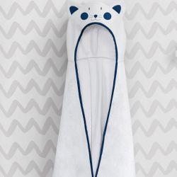 Toalha com Capuz Infantil Amiguinho Gatinho Azul Marinho 90cm
