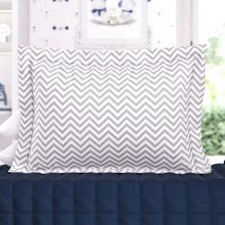 Capa de Travesseiro Infantil Chevron Amiguinhos Azul Marinho