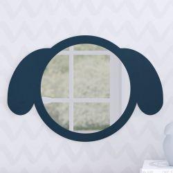 Espelho Redondo Amiguinho Cachorrinho Azul Marinho 30cm