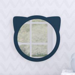 Espelho Redondo Amiguinho Gatinho Azul Marinho 30cm
