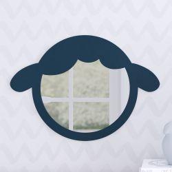 Espelho Redondo Amiguinho Carneirinho Azul Marinho 30cm