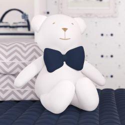 Urso Branco com Gravata Azul Marinho 42 cm