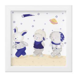 Quadro Amiguinhos Azul Marinho na Lua