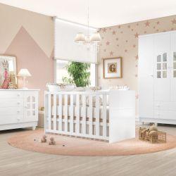 Quarto de Bebê Requinte com Berço/Cômoda 1 Porta/Guarda-Roupa 3 Portas