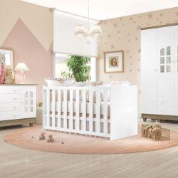 Quarto de Bebê Requinte Amadeirado com Berço/Cômoda 1 Porta/Guarda-Roupa 3 Portas