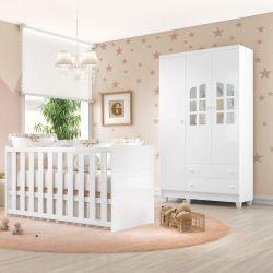Quarto de Bebê Requinte com Berço/Guarda-Roupa 3 Portas
