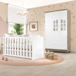 Quarto de Bebê Requinte Amadeirado com Berço/Guarda-Roupa 3 Portas