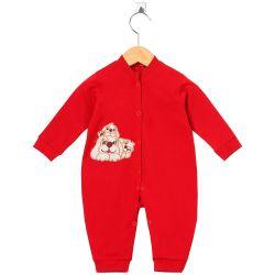 Macacão Longo Cachorrinhos Vermelho