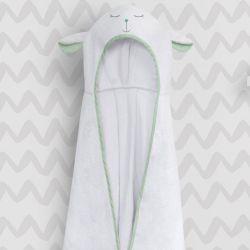 Toalha com Capuz Infantil Amiguinho Carneirinho Verde 90cm