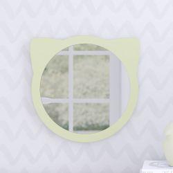Espelho Redondo Amiguinho Gatinho Verde 30cm