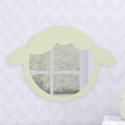 Espelho Redondo Amiguinho Carneirinho Verde 30cm
