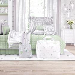 Kit Cama Infantil Amiguinhos Verde com Bolsa de Tecido