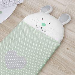 Saco de Dormir Infantil Amiguinho Coelhinho Verde 1,40m