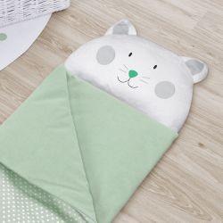 Saco de Dormir Infantil Amiguinho Gatinho Verde 1,60m