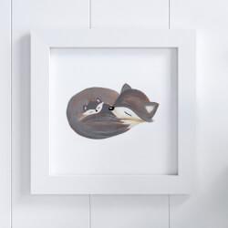 Quadro Raposinha Cinza 20cm