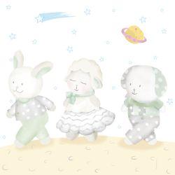 Quadro Amiguinhos Verde na Lua