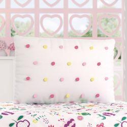 Almofada Retangular Pompons Rosa e Amarelo 55cm