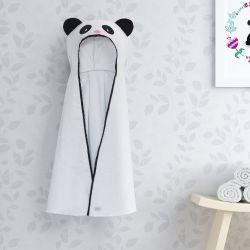 Toalha com Capuz Infantil Panda Floral Moderna 90cm