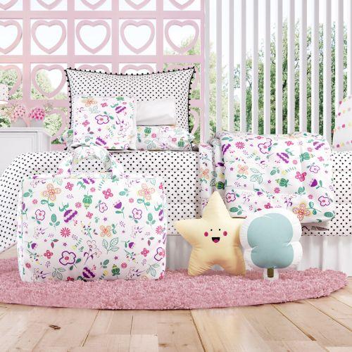 Kit Cama Infantil Floral Moderna com Bolsa de Tecido