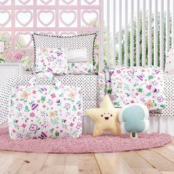 Kit Cama Infantil Solteiro Floral Moderna com Bolsa de Tecido