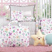19d43bcbe0 Kit Cama Infantil Floral Moderna com Bolsa de Tecido