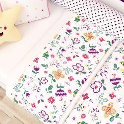 Jogo de Lençol para Mini Cama Floral Moderna