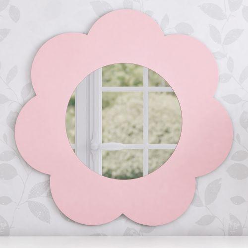 Espelho Redondo Flor Rosa 46cm