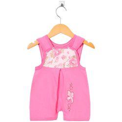 Macacão Curto Banho de Sol Lacinho Floral Pink