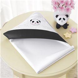 Toalha com Capuz Urso Panda Floral Moderna