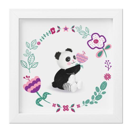 Quadro Urso Panda Floral Moderna