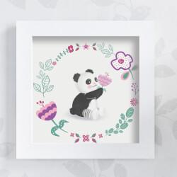 Quadro Urso Panda Floral Moderna 20cm