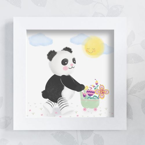 Quadro Urso Panda no Jardim 38cm