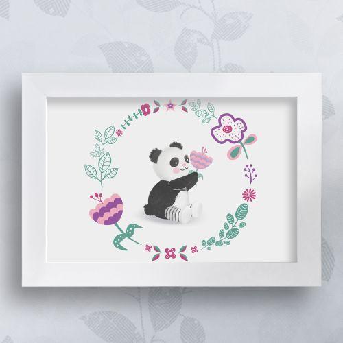 Quadro Urso Panda Floral Moderna 35cm