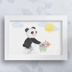 Quadro Urso Panda no Jardim 35cm