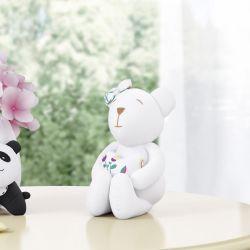 Ursinha Branca com Coração Floral Moderna 15cm