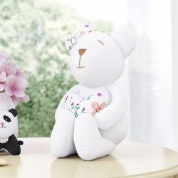 Ursinha Branca com Coração Floral Moderna 42cm