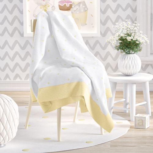 Manta de Tricot Infantil Amiguinhos Amarelo 1,20m