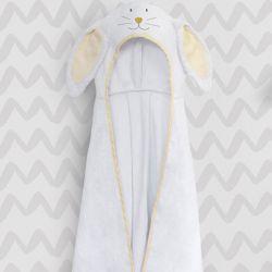 Toalha com Capuz Infantil Amiguinho Coelhinho Amarelo 90cm