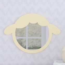 Espelho Redondo Amiguinho Carneirinho Amarelo 30cm