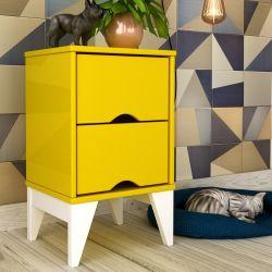 Mesa de Cabeceira 2 Gavetas Twister Amarelo