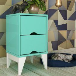 Mesa de Cabeceira 2 Gavetas Twister Azul Tiffany