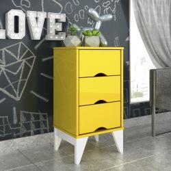 Mesa de Cabeceira 3 Gavetas Twister Amarelo