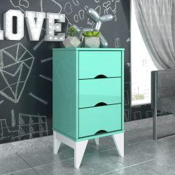 Mesa de Cabeceira 3 Gavetas Twister Azul Tiffany