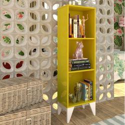 Estante para Livros com 3 Nichos Twister Amarelo