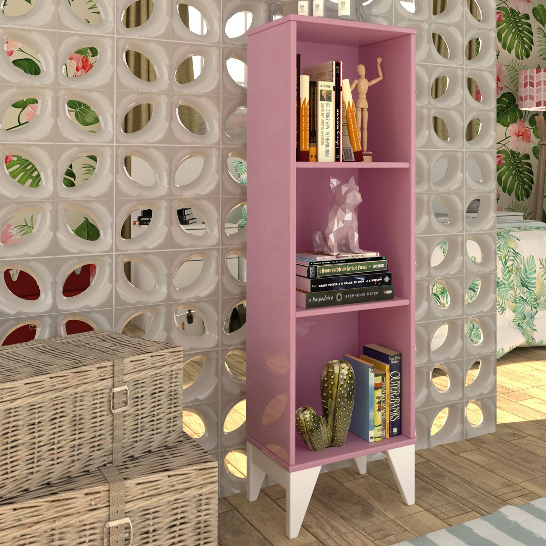 22cdf9ce4 Estante para Livros com 3 Nichos Twister Rosa