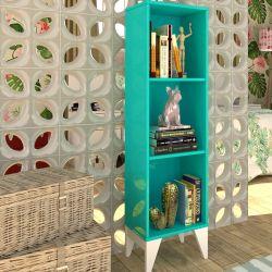 Estante para Livros com 3 Nichos Twister Azul Tiffany