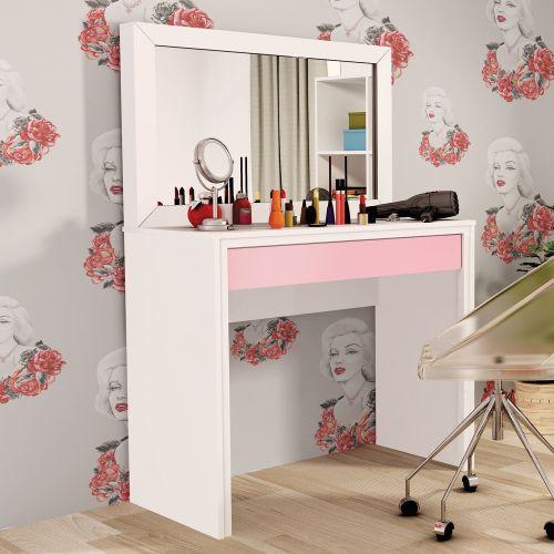 Penteadeira com Espelho Twister Rosa