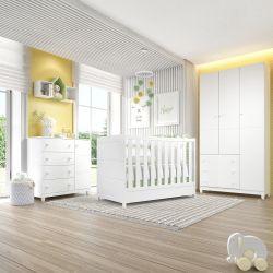 Quarto de Bebê Berço Branco + Cômoda c/ Porta + Guarda Roupa 3 Portas Premier