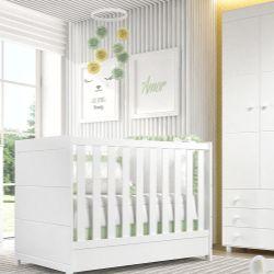 Quarto de Bebê Berço Branco + Guarda Roupa 3 Portas Premier