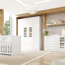 Quarto de Bebê Gabriel com Berço/Cômoda 1 Porta/Guarda-Roupa de 4 Portas